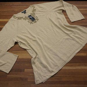 Style & Co Camel Sweater with beaded neck
